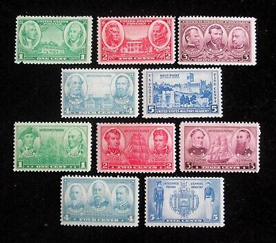 1936 Scott # 785 - 794 Set of 10 unused stamps Army Navy MNH Mint PH XF/VF POF