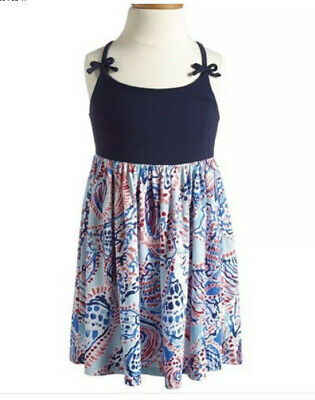 EUC XL 12 14 Lilly Pulitzer Ana Dress Sea Shell Me About It Navy HTF Holy Grail