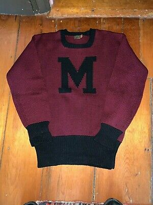 Vintage 1940 Worsted Wool Knit Letter M Sweater Burgundy w Black Men's Medium
