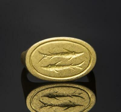 Roman Gold Ring engraved with fish: Circa 3rd century AD.