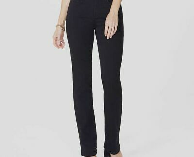 $341 NYDJ Women's Black Marilyn Stretch Straight-Leg Mid-Rise Jeans Pants Size 8