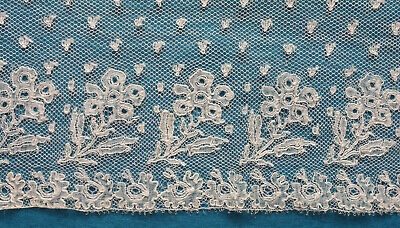 112 cms antique early 19th century floral Mechlin lace  border