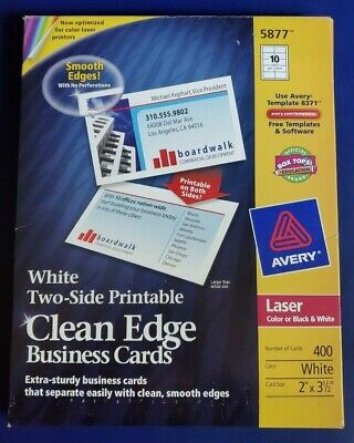 Avery 5877 white two side printable clean edge business cards *490 total*