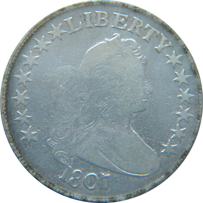 $$$ 1807 50C SILVER Draped Bust Half Dollar Fine+ Details (CLEANED) $$$