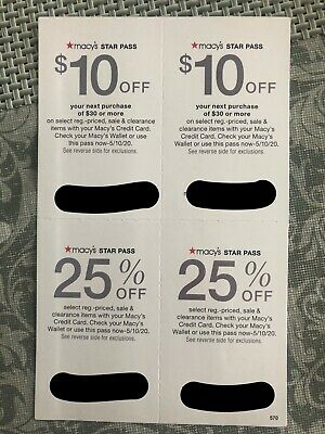 Macy's Star Coupons $10 off $30 and 25% off exp.5/10/20 (2 Set) *FAST Delivery*