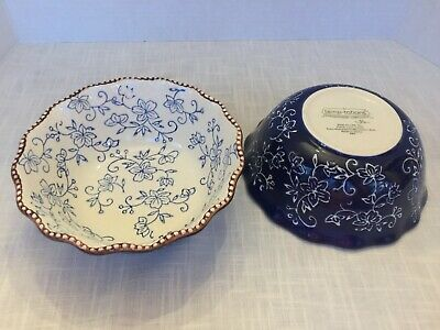 Temp-Tations Bowls 2 Blue Floral Lace Scalloped Beaded Soup Cereal Tara 0.8 Qt
