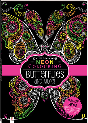 Adult Colouring Book Kaleidoscope Neon Butterflies And More 32 Pages A4 Size