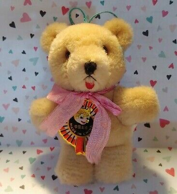 """Vtg Miniature Pure Wool 4"""" Teddy Bear With Tag Ornament Decoration"""