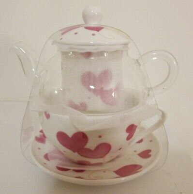 Stechcol,Tea For One, Glass Teapot, Ceramic Strainer, Cup,Saucer,Heart/Love, New