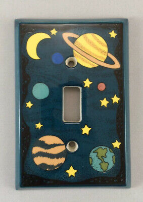 """All Fired Up! Stars & Planets Space Light Single Switch Plate Ceramic 5x3.375"""""""