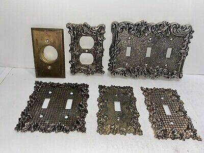 Vintage Metal Light Switch Plate Cover Lot Collection