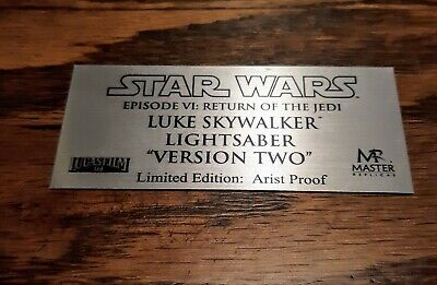 Master Replicas Lightsaber Luke Skywalker ROTJ V.2  Plaque Replica/Replacement