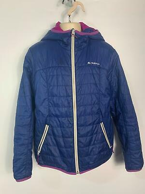 Girls Quechua Blue Winter Light Casual Hood Rain Coat Jacket Kids Age 12 Years