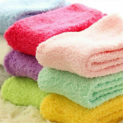 6 Pairs Ladies Soft Fluffy Socks Warm Winter Cosy Lounge Bed Socks Xmas Gift UK