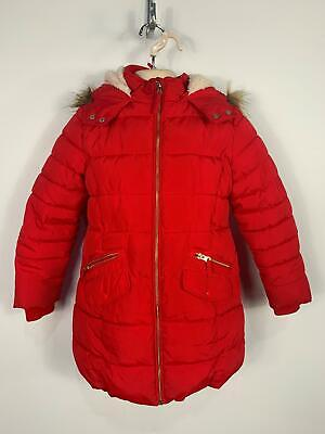 Girls Marks&Spencer Red Casual Winter Padded Raincoat Jacket Kids Age 7/8 Years