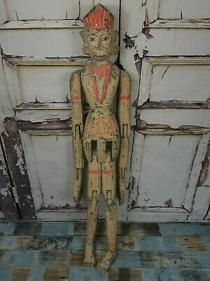 Large Unique Old Antique Vintage Hand Carved Articulated Indian Sculpture Figure