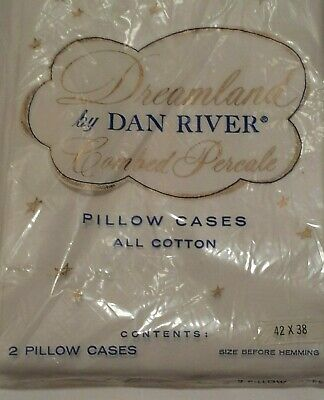 Dreamland Pillow Cases Vintage Dan River Percale Cotton White new Combed USA