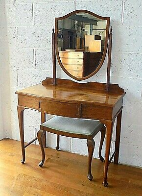 Antique Mahogany Maple & Co Dressing Table With Drawer, Mirror & Stool