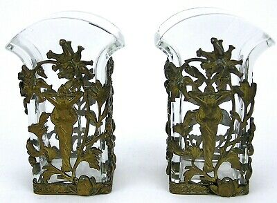 Pair Art Nouveau Glass Crystal Vases Bronze Mount Jugendstil Ormolu poss Austria