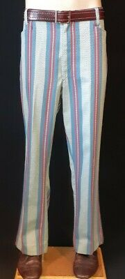 1970's striped flat front pant by 'Koratron' USA, cotton, size 36""