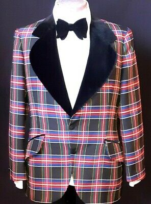 Smoking Jacket and Bow tie, Velvet/ polyester, tartan, USA, by 'After Six', 1...