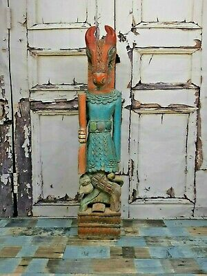 Old Antique Vintage Hand Carved Hand Made Indian Horse Man Statue Figure Shrine