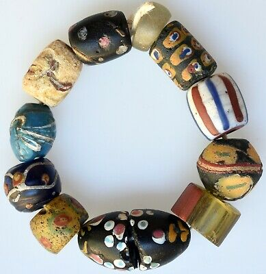 11 Mixed Old Venetian Glass Beads - African Trade Beads