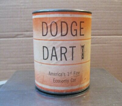 Vintage Dodge Dart Promotional Cardboard/Tin Bank Savings By The Barrel Rare HTF