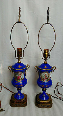 2 Antique French Blue Porcelain Brass Sevres Style Enameled Table Lamps Signed