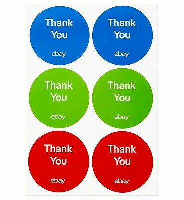 """100 Count 3-Color Round eBay-Branded Thank You Stickers Multi-Pack Size 3"""" x 3"""""""