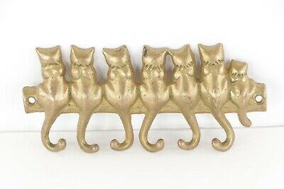Vintage 60s Mid Century Modern MCM Solid Brass Cat Tail Kitty Coat Key Hook