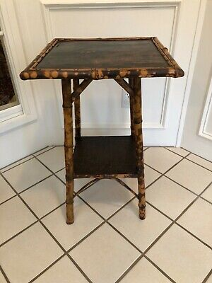 Antique Bamboo Victorian Side Lamp Occasional Two Tier Table C1890 Flower Motif