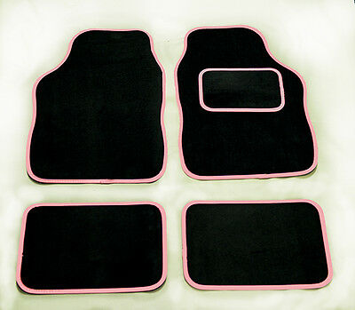 VAUXHALL CORSA ECOFLEX 06- UNIVERSAL BLACK CAR MATS WITH  RED /& BLACK TRIM