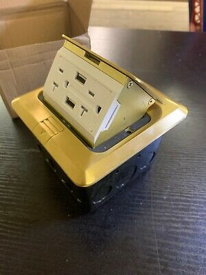 Pop-up Electrical Outlet Box with 2AC Round Receptacles & 2 USB Ports UL Listed