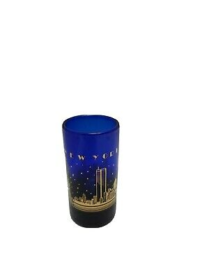 Vintage Kings New York New York With Twin Towers Cobalt Blue And Gold Shot Glass