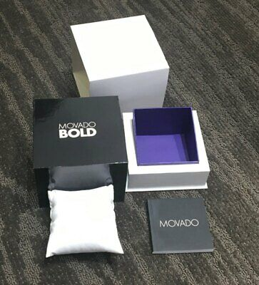 New Movado Bold Square Watch Gift Box, Outer Box, And Booklet