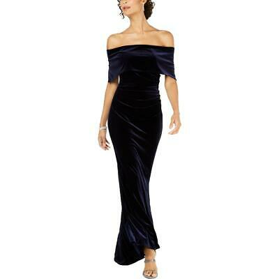 Vince Camuto Womens Navy Off The Shoulder Velvet Evening Dress Gown 10 BHFO 8065
