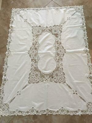 crocheted white tablecloth 66 x 48 lace design cotton 1980s vintage cutwork