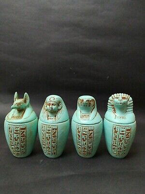 Antique  Canopic Jars Egyptian  Set of 4  Decorative Collectibles, Porcelain