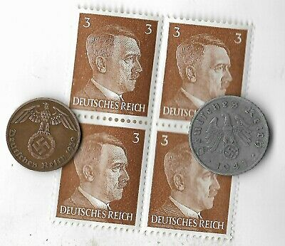 Rare Very Old German WWII Germany Coin Stamp Great Vintage War Collection Lot413