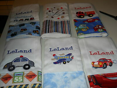 Personalized baby embroidered burp cloths set of 6 boy