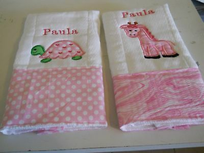 Personalized baby embroidered burp cloths set of 3 girl