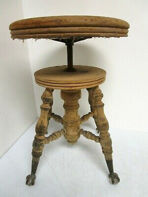 "Vintage Charles Parker Glass Ball Claw Foot Piano Stool Adjustable 18 1/2"" - 23"""
