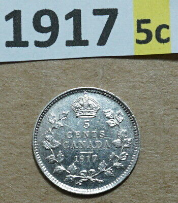 1917 5 Cent CANADA 925 SILVER COIN KING GEORGE V UNCIRCULATED 5,521,373