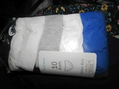 new with tags pack of ten pairs boys briefs  age 12-13 years 100% cotton