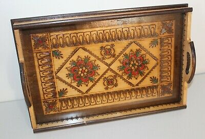Vintage Polish Folk Art Hand Carved Wood Wooden Serving Tray, Pyrography