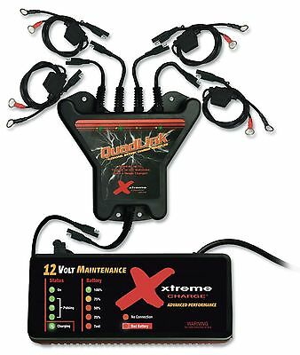 4 Station 12V Battery Charger System for Auto, Marine, Motorcycle, Desulfate