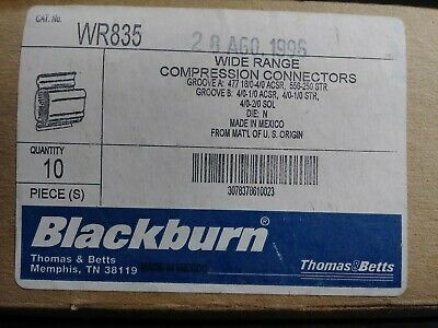 Thomas & Betts Blackburn Wr-835 Compression Connector H-Tap Lot Of 10 New In Box