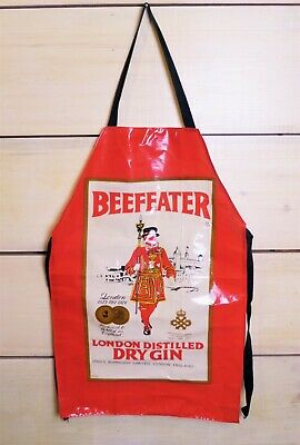 Vintage Beefeater Gin Apron Advertisement Oilcloth Plastic Full Front BBQ Style