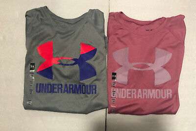 Lot of 2 Under Armour Girls Polyester Tee Shirts Youth Size M